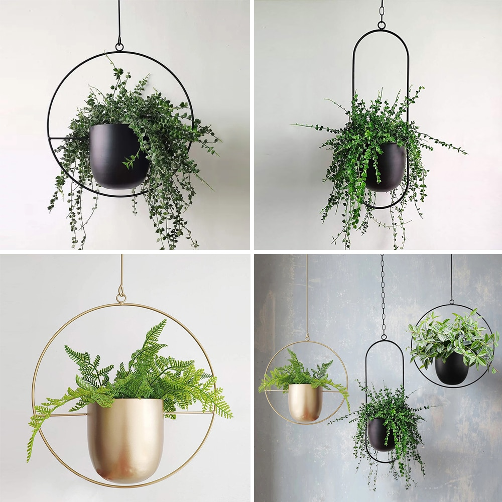 1Pcs Metal hanging pot Plant Hanger Chain hanging planter Basket Flower Pot Plant Holder Home Garden Balcony Decoration