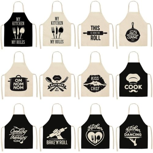 Baking Apron Black and White Printed Apron