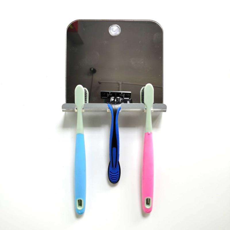 Acrylic Anti Fog Shower Mirror Bathroom Fogless Anti-fall Washroom Travel For Man Shaving Mirror Hanging Razor Toothbrush Mirror