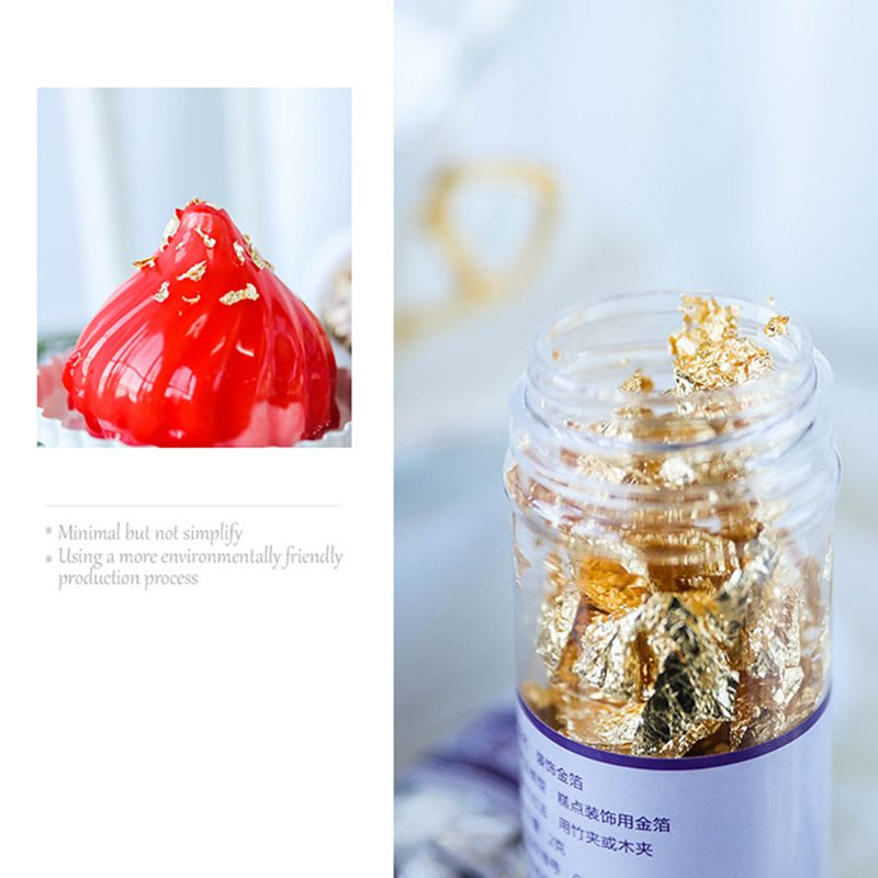 TTLIFE 1PCS Edible Grade Genuine Gold Leaf Schabin Flakes 2g 24K Gold Decorative Dishes Chef Art Cake Decorating Tools Chocolate