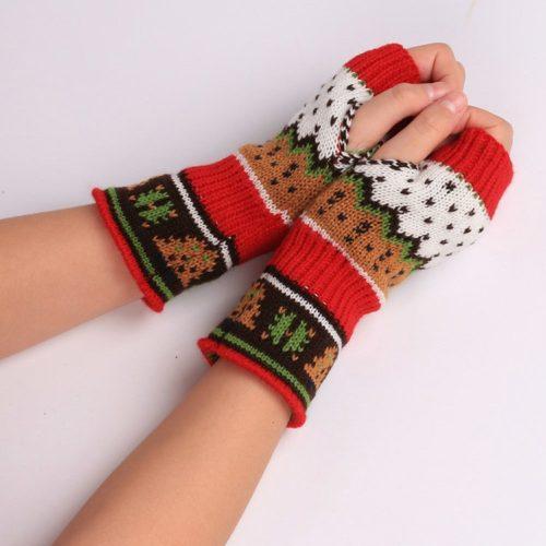 Christmas Gloves Fingerless Mittens