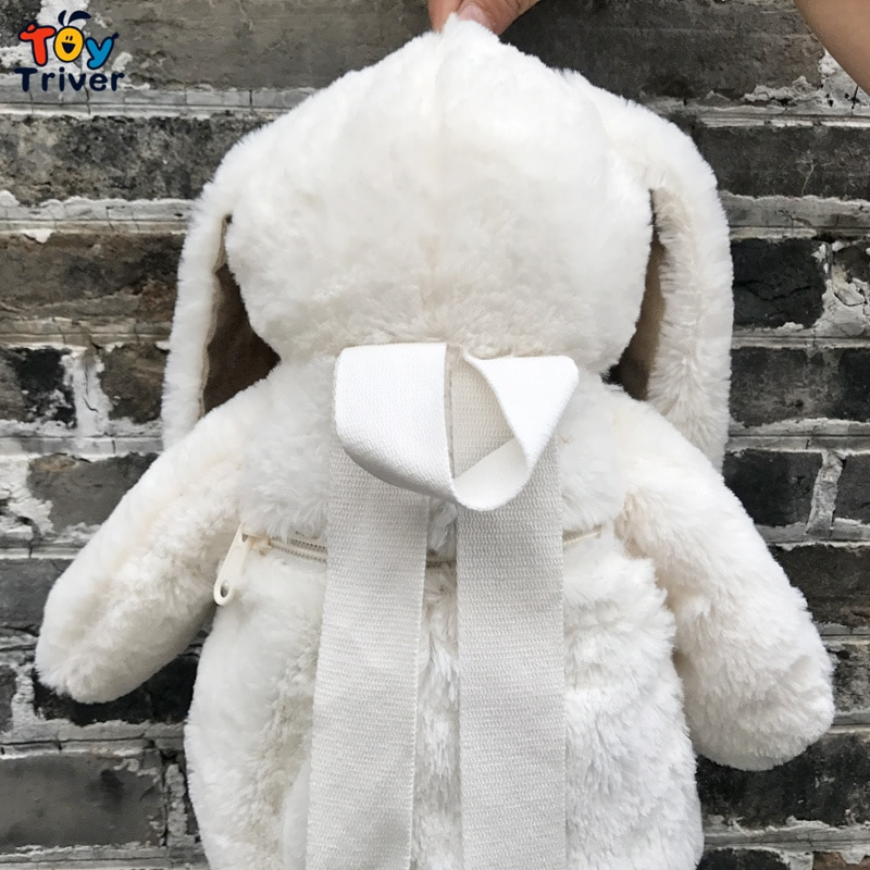 Kawaii Japanese White Rabbit Bunny Backpack School Shoulder Bag Plush Toy Kids Children Girls Girlfriend Student Birthday Gift