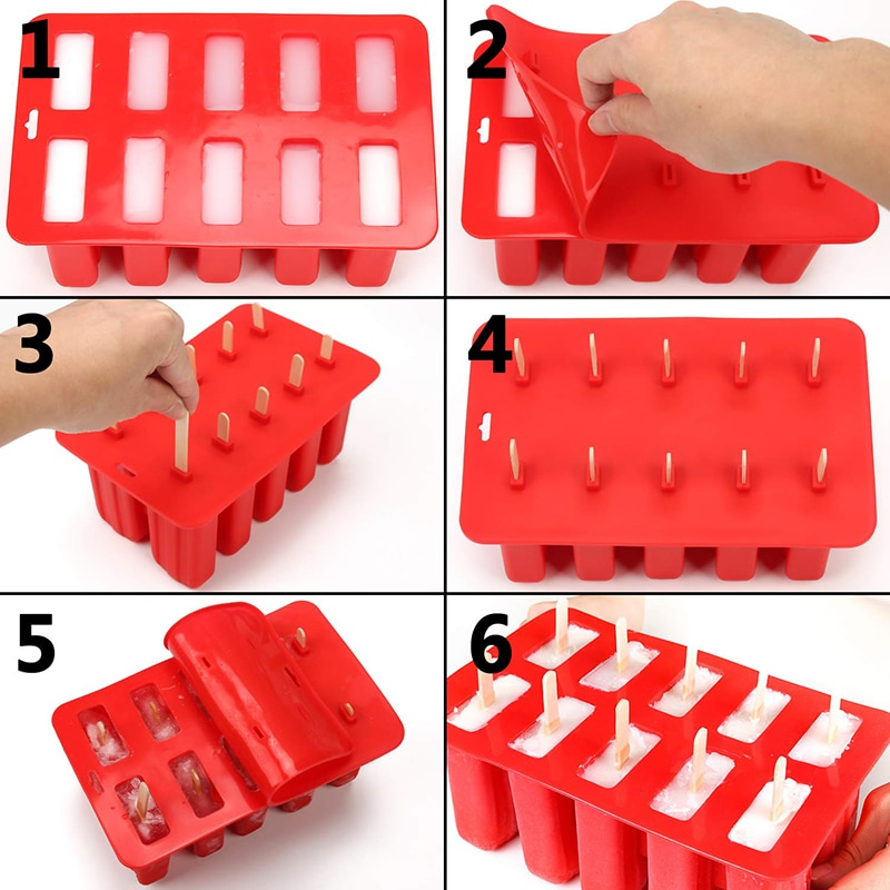 UPORS Food Grade Popsicle Silicone Molds 4/10 Cavity Homemade Kitchen Silicone Popsicle Mold BPA Free Frozen Ice Pop Cream Maker