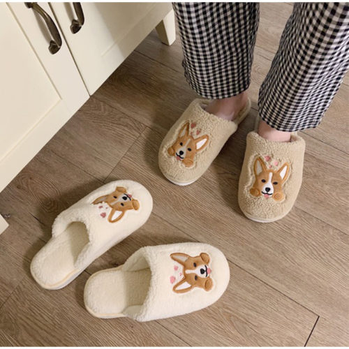 Womens Indoor Slippers Corgi Design Slippers