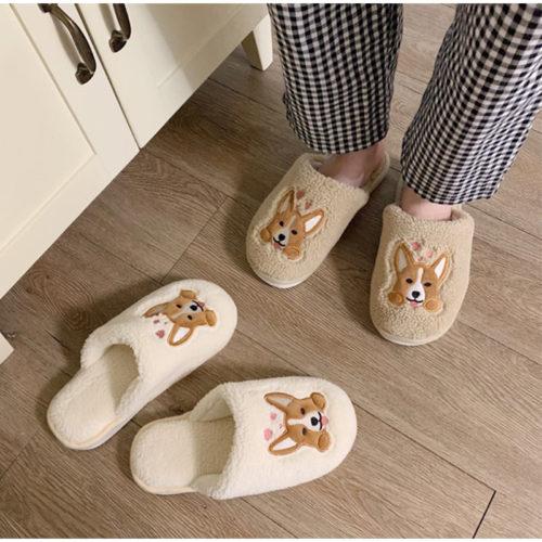Womens Indoor Slippers Corgi Design Slippers