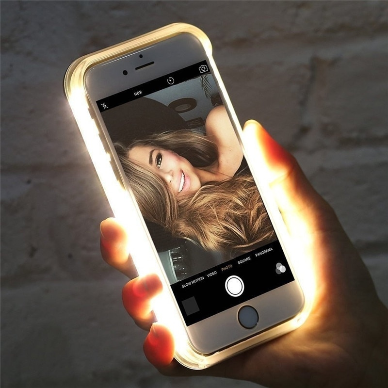 Luxury Luminous Phone Case For iPhone 6 6s 7 8 Plus 11 X Xr Xs Max Selfie Light Up Glowing Case Cover for iPhone 5 5s Phone Bag
