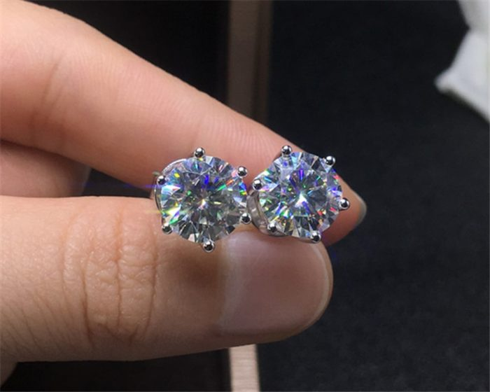 Womens Silver Stud Earrings Fashion Accessory