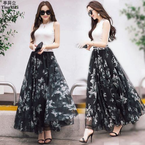 Long Floral Skirt Elegant Chiffon Skirt