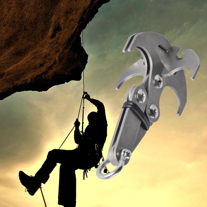 Stainless Steel Survival Folding Grappling Hook Gravity Hook Outdoor Climbing Claw Travel Climbing Rescue Tool Key Chain Hook
