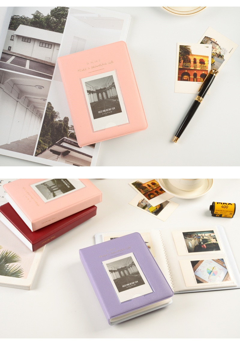 64 Pocket Transparent Mini Photo Album Insert PP Photo Album Business Card Book Film Polaroid Mini Instant Painting Storage Case