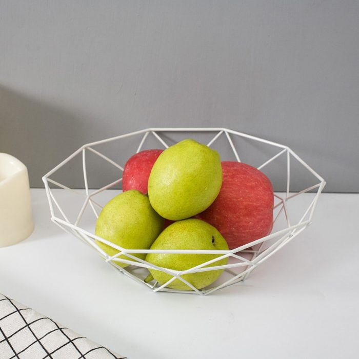 Steel Fruit Basket Geometric Design
