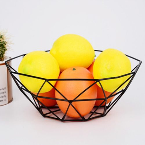Steel Fruit Basket Geometric Design
