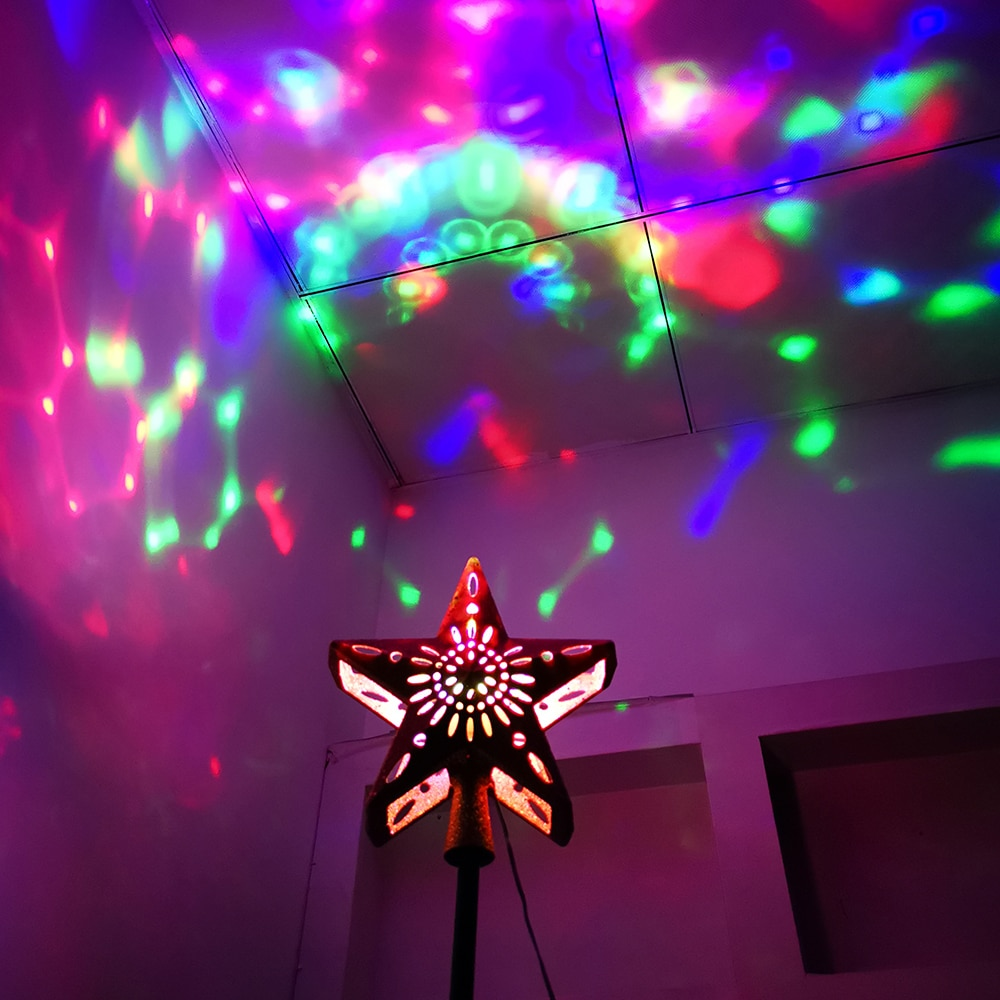 Christmas Tree Topper LED Snowflake Star Top Light Projection Lamp Light Gold Party Romantic Christmas Decorations For Home