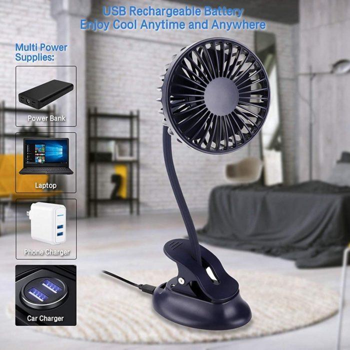 Clip On Stroller Fan Rechargeable Cooler