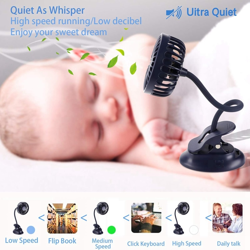 Portable Mini Clip Stroller Fan,3 Speeds Settings,Flexible Bendable Usb Rechargeable Battery Operated Quiet Desk Fan For Home,