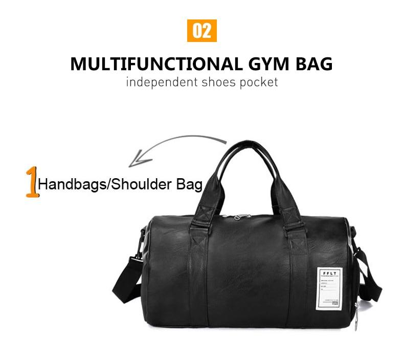 Leather Gym Bag Sports Handbag