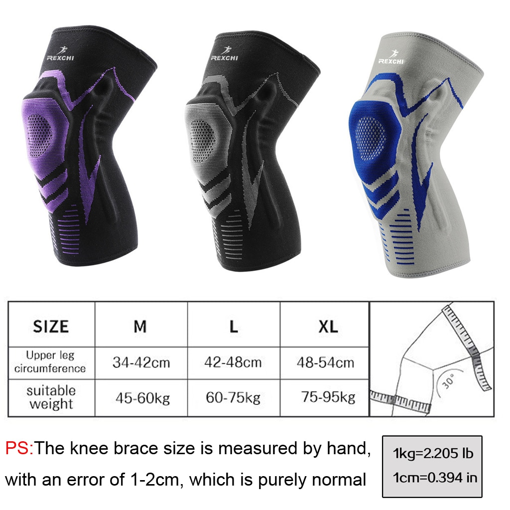 Basketball Knee Pads with Support Silicon Padded Elastic Non-slip Patella Brace Kneepad for Fitness Gear Protector Tennis
