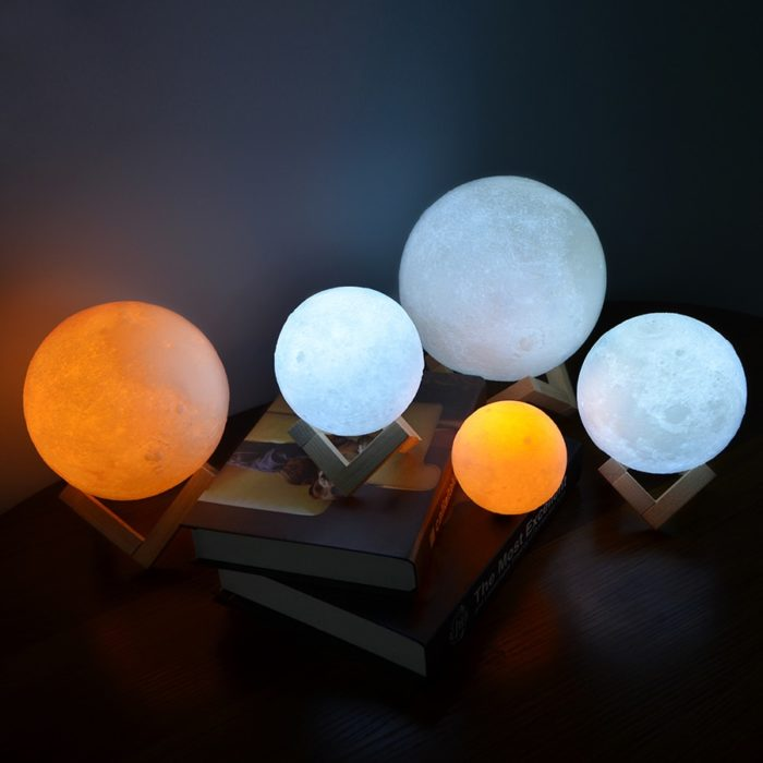 Luna Lamp with Geometric Wooden Stand
