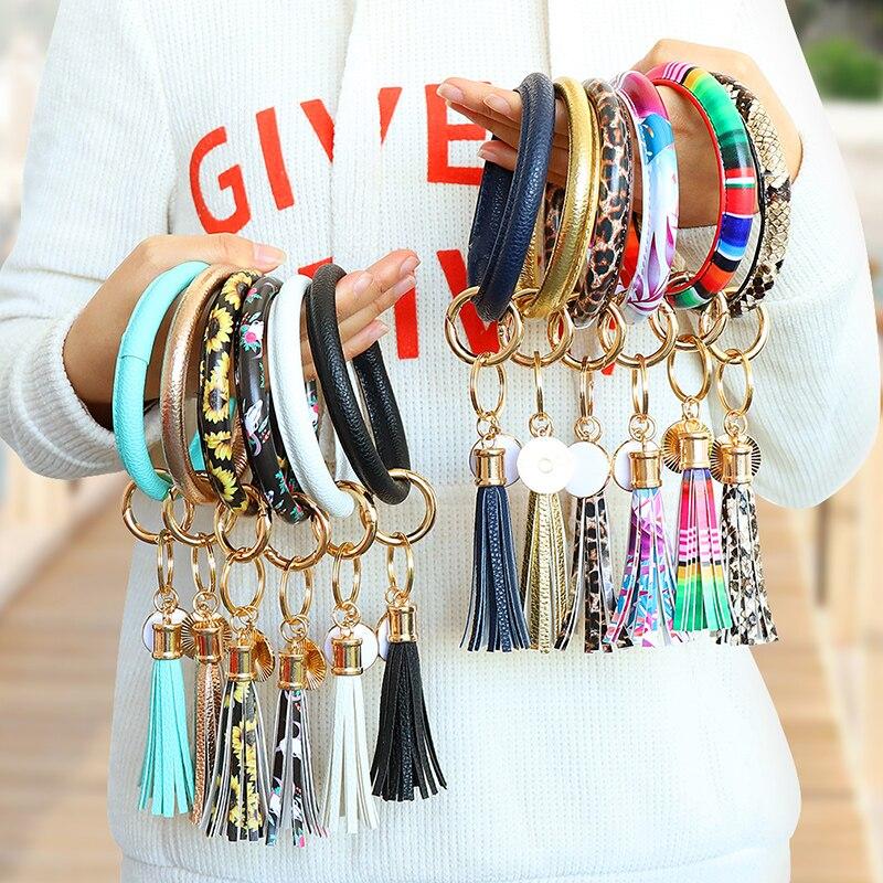 New PU Leather Round Circle Bracelet Keychain Ladies Tassel Wristlet Keychain Fashion Jewelry Women Gift