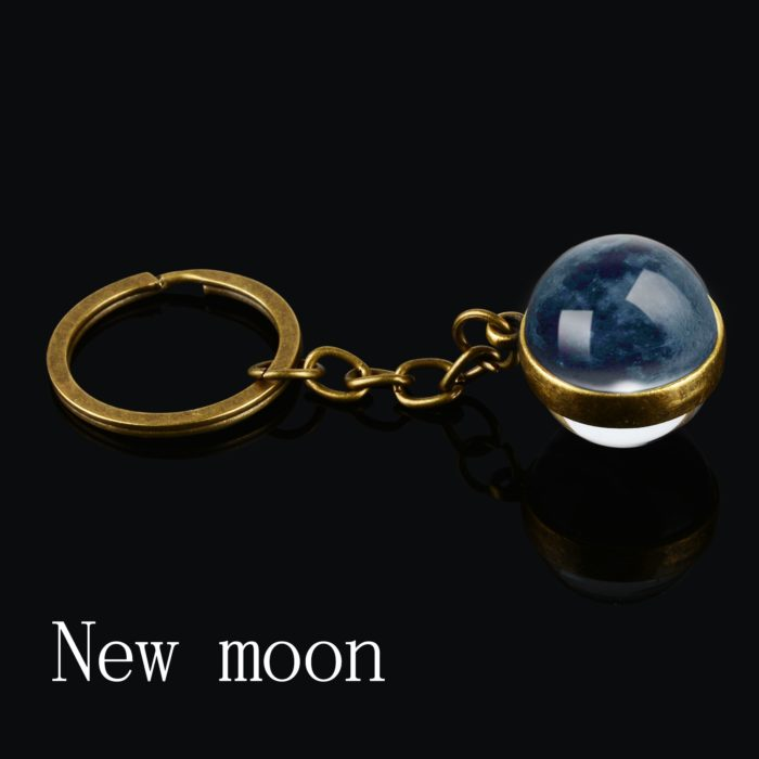 Moon Keychain with Phases of the Moon Image