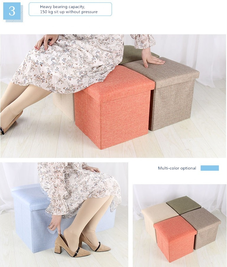 Simple Fabric Storage Storage Stool Folding Shoe Bench Footstool Can Sit With Lid Storage Box Stool 30*30*30cm/40*25*25cm