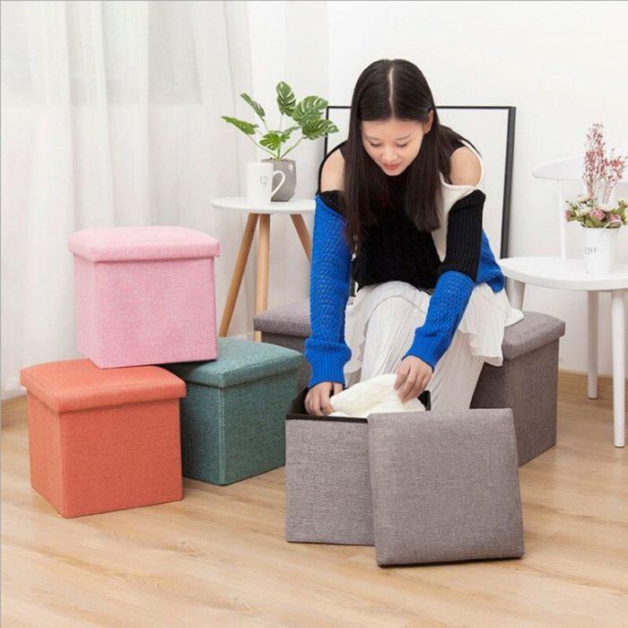 Stool with Storage Fabric Exterior