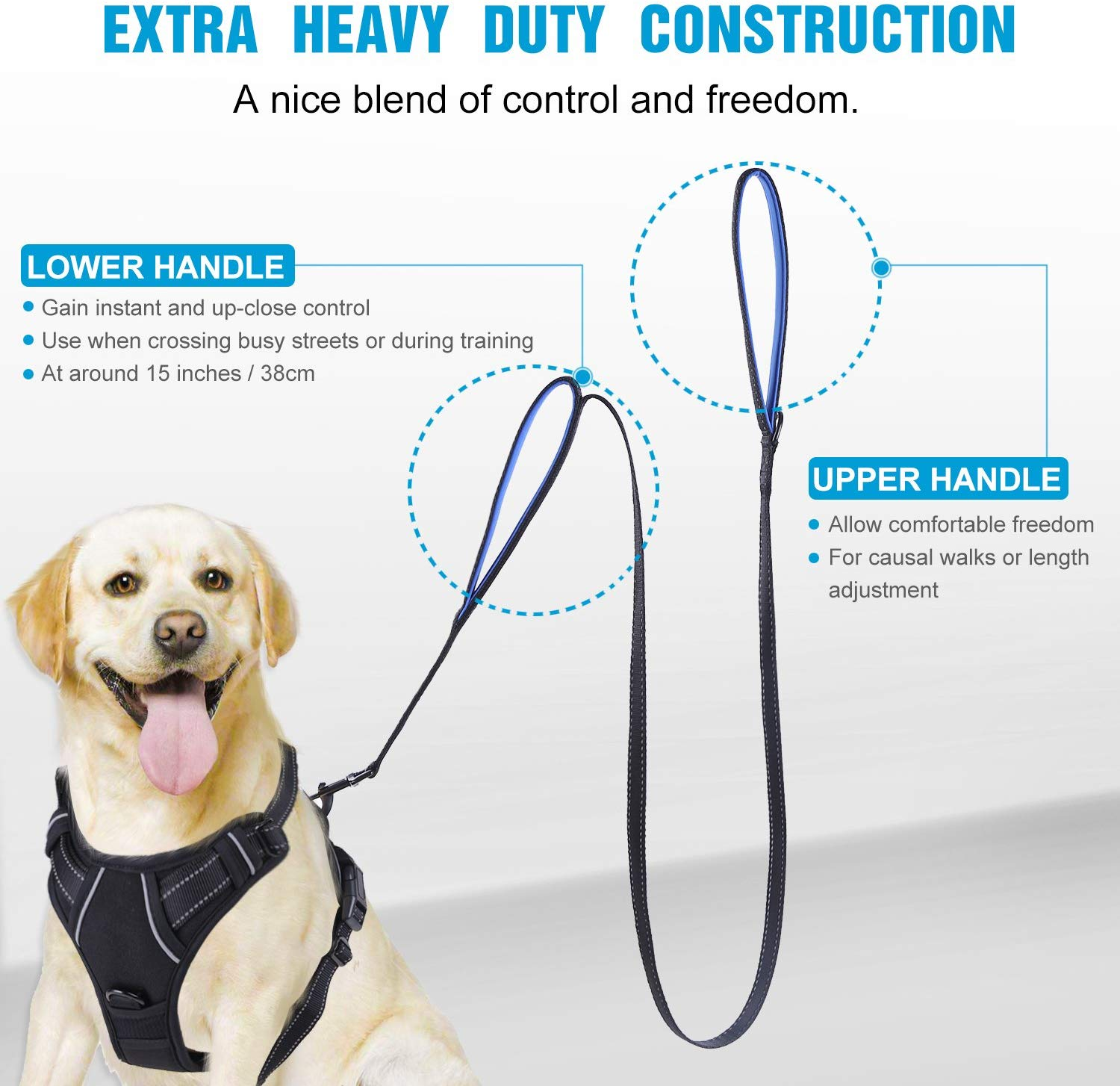 Heavy Dog Leash 188CM Dog Collar Padded Traffic Handle Extra Control Nylon Dog Leash Safety Training Double Handles Lead for Dog