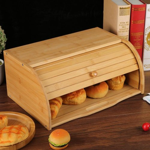 Bamboo Wood Bread Bin Box