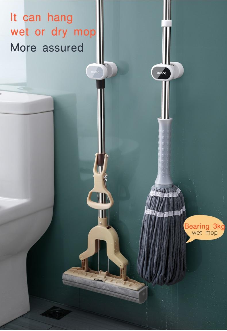 Mop Broom Holder Wall Mounted Mop Holder Household Adhesive Storage Broom Hanger Mop Hook Racks Kitchen Bathroom Organizer
