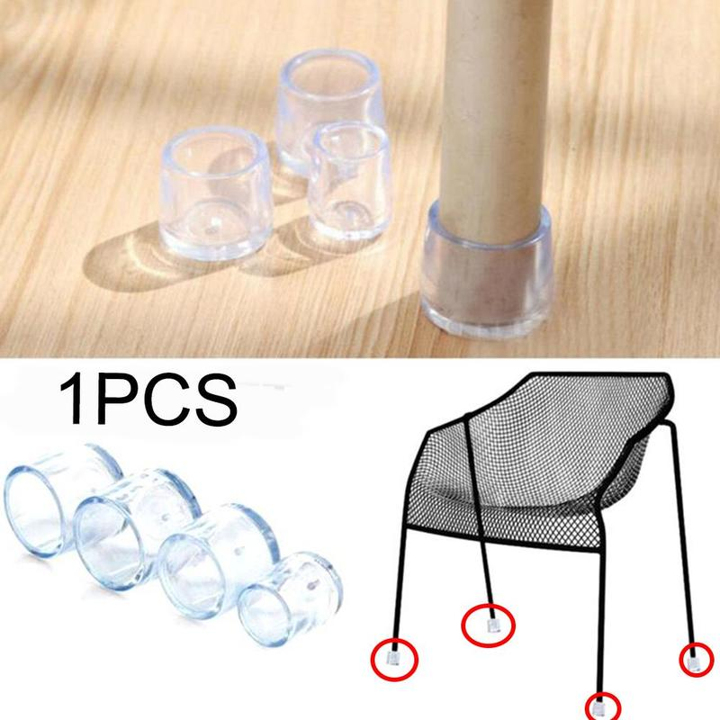 8pcs Silicone Chair Leg Caps Feet Pads Furniture Table Chair Leg Floor Feet Cap Cover Protector Transparent 3 Sizes