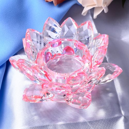 Crystal Lotus Candle Holder Decor