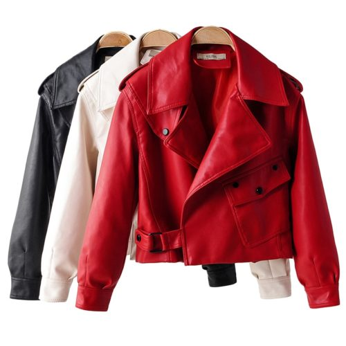 Ladies Faux Leather Jacket Stylish Coat