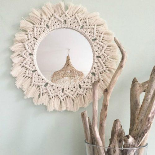 Macrame Mirror Boho Home Decor