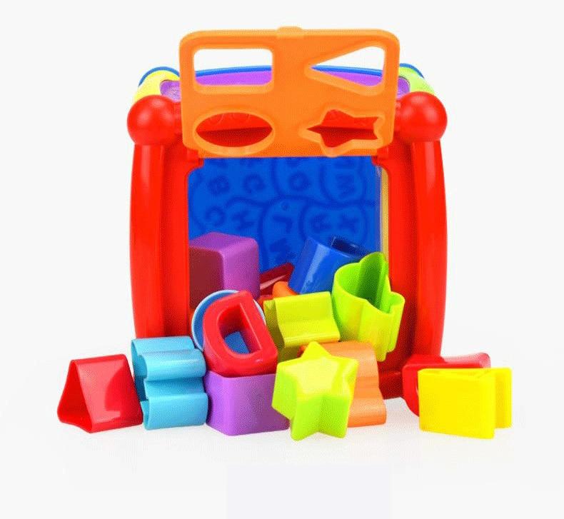 Multifunctional Musical Toys Toddler Baby Box Music Activity Cube Gear Clock Geometric Blocks Sorting Educational Toys