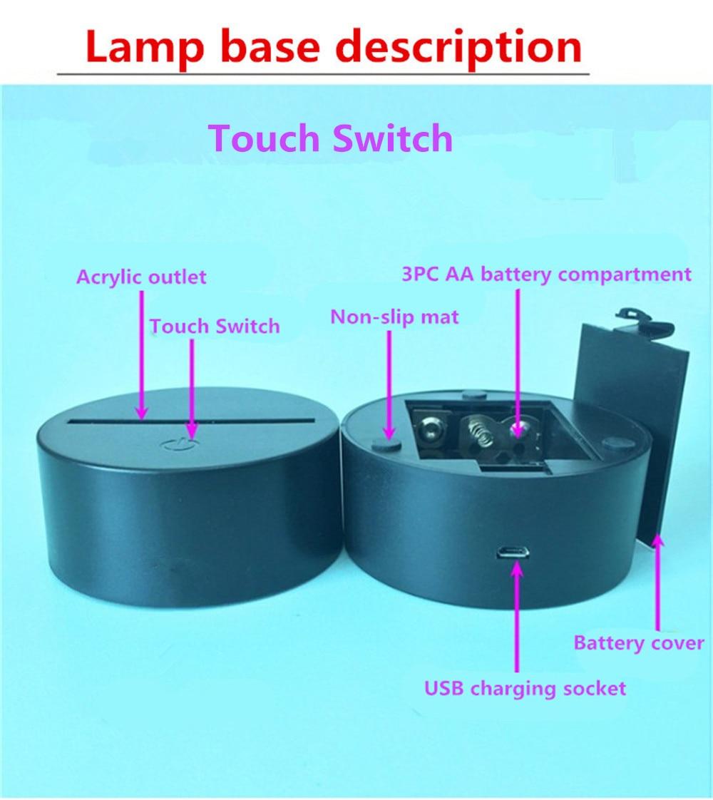 7 Colors Changing 3D Illusion Lamp Soccer Night Light Visual lights Desk Luminaria USB Football Lamp Gift Drop Shipping