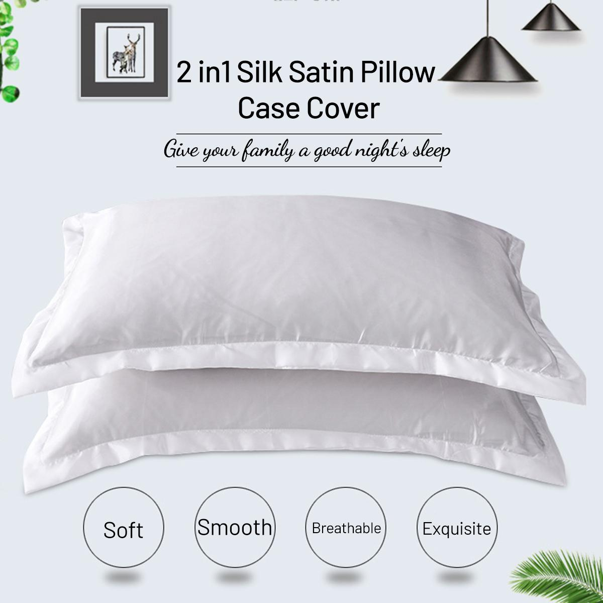 2pcs Stain Silk Pillowcase 48X74cm Bedding Comfortable Smooth Solid Color Decorative Pillow Case Cover Home Textile