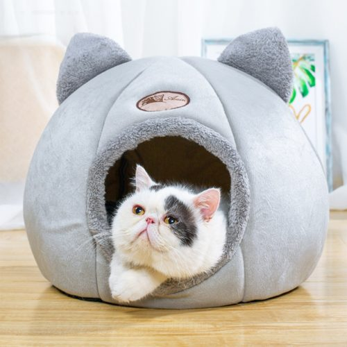 Covered Cat Bed With Inside Cushion