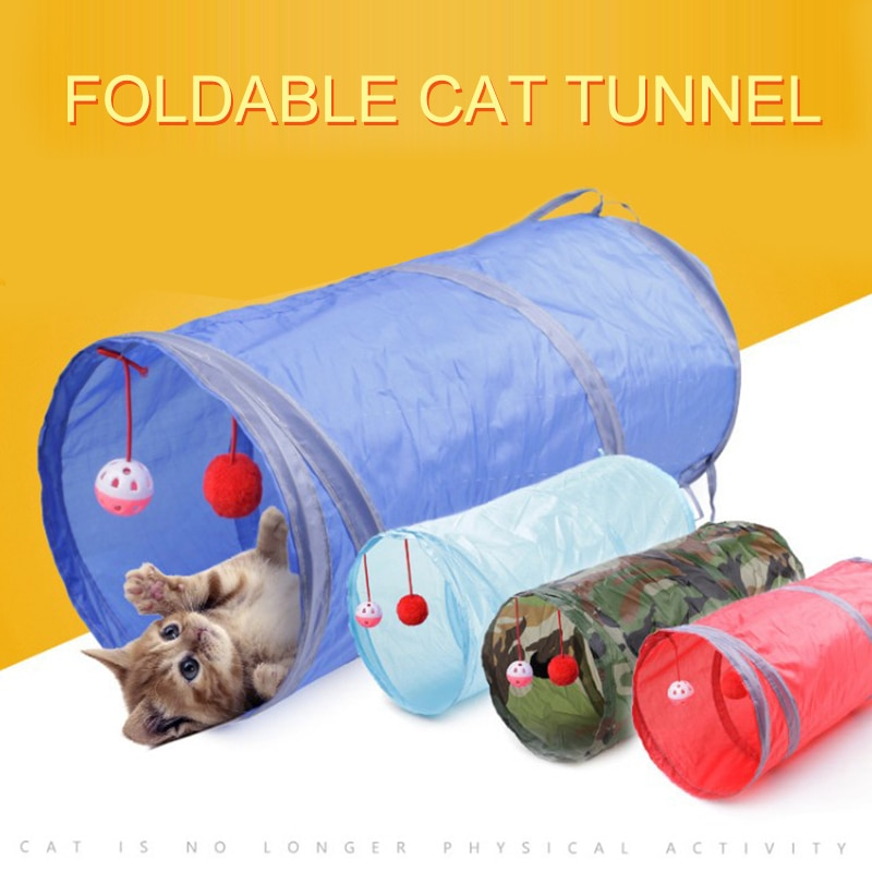 Cat Tunnel Toy Pet Tunnels and Tubes Peep Hole Design Collapsible 2 holes With Bells Play Fun 7 Color Toy with Crinkle