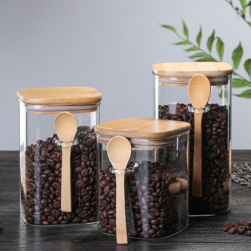 Glass Kitchen Jar with Spoon