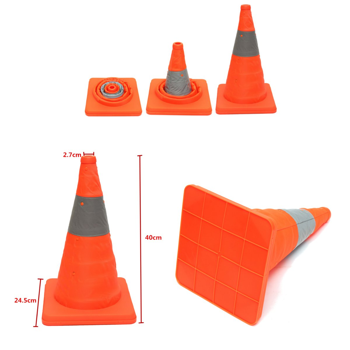 40CM Folding Collapsible Orange Road Safety Cone Traffic Pops Up Parking Multi Hot Sale