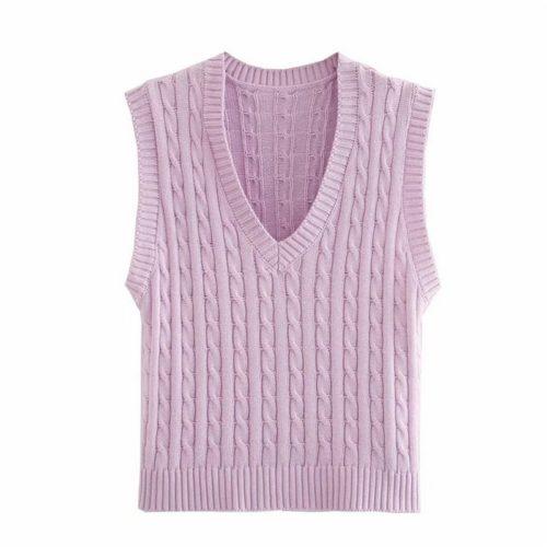 Knitted Vest For Women Sleeveless Top
