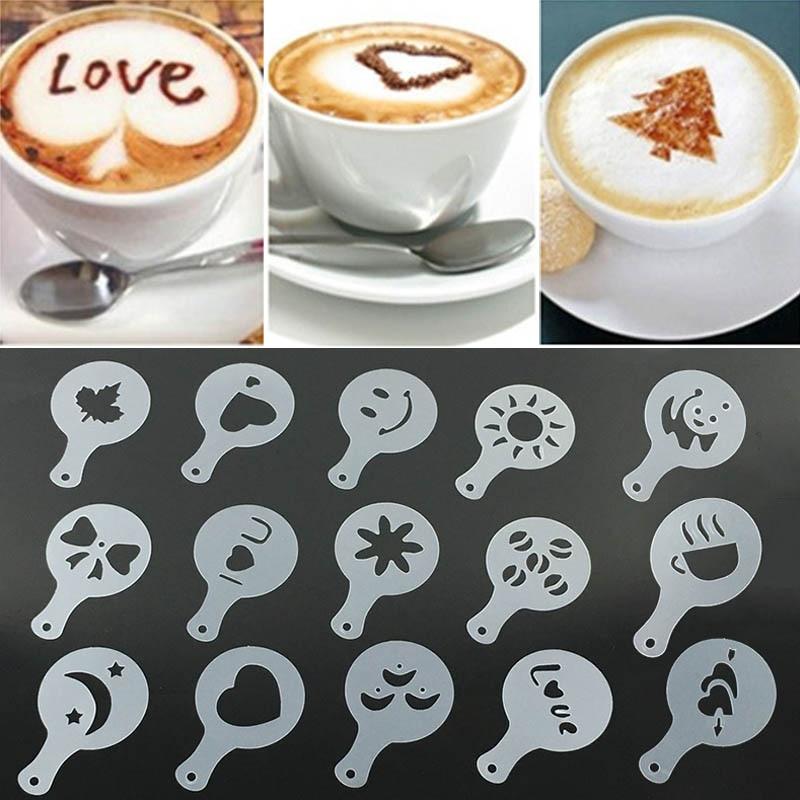 16pcs Coffee Printing Flower Model Cafe Accessories Coffee Foam Spray Template Plastic Garland Mold pad Barista Art Stencils