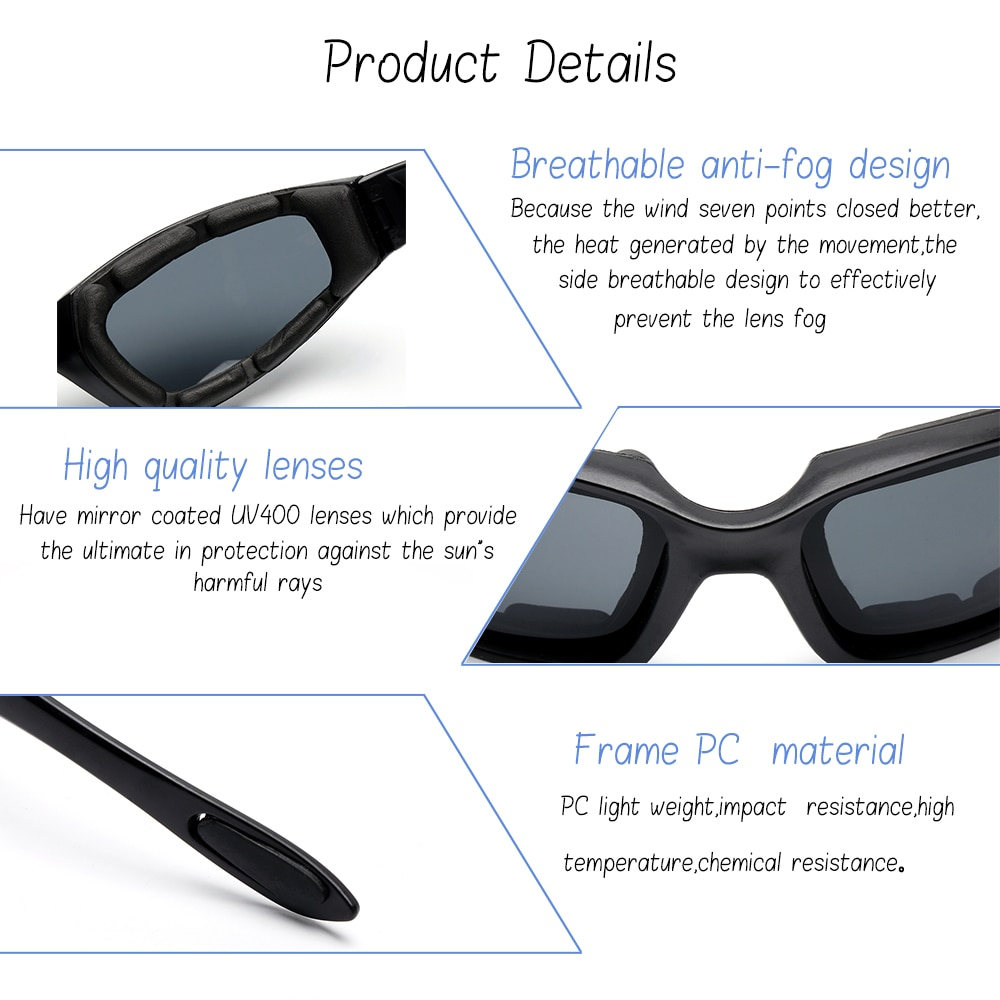 Motorcycle Riding Glasses Wind Resistant Padded Comfortable Windproof Scooter Sunglasses Dustproof Eye Protection Glasses
