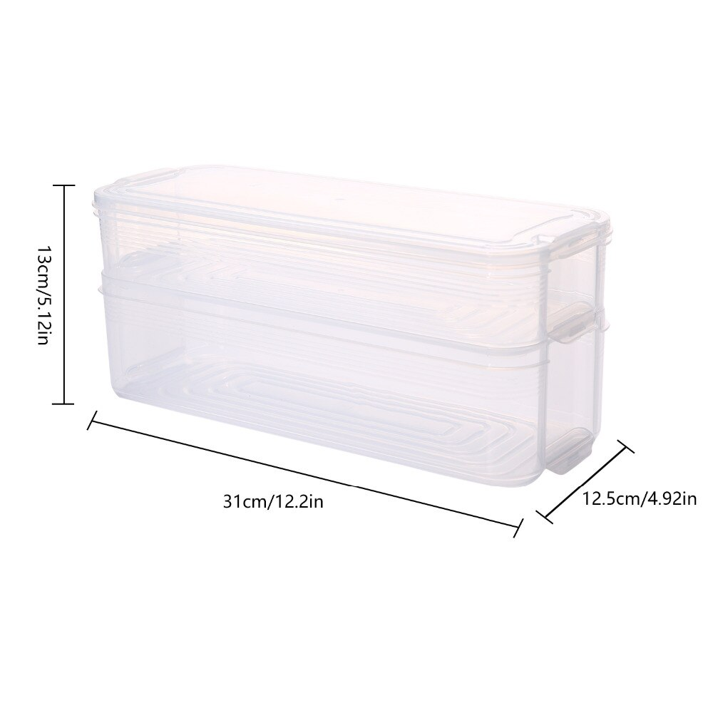 Refrigerator Food Storage Box Plastic Transparent Bins Sorting Containers with Lid for Kitchen Fridge Cabinet Freezer Organizer