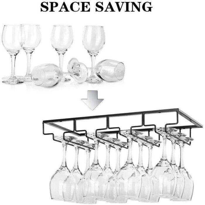 Under Cabinet Wine Glass Rack Wire Organizer