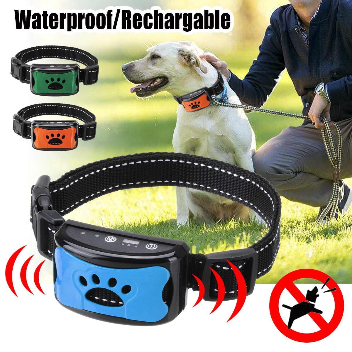 Pet Dog Rechargeable Anti Bark Collar Control Train Waterproof Stop Barking Pet Dog Waterproof Ultrasonic Training Collars