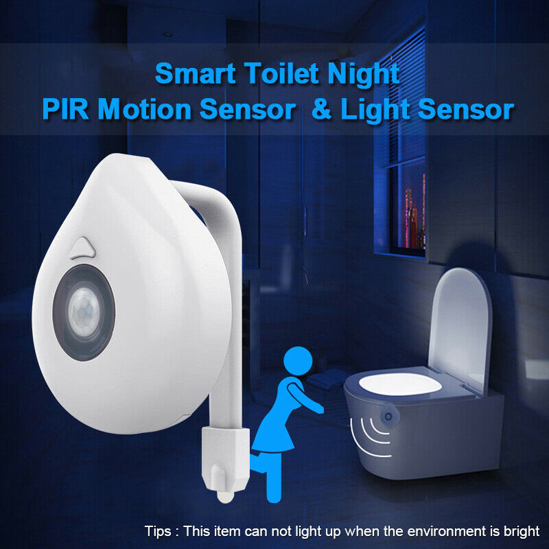 LED Toilet Bathroom Night Light Motion Activated Seat Sensor 8 Colors Changing Lights Waterproof Backlight For Toilet Home Bath