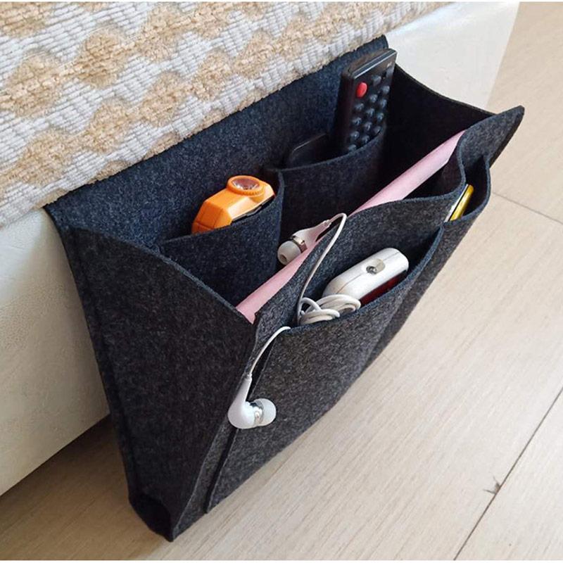Felt Bedside Storage Organizer Bed Desk Bag Sofa TV Remote Control Hanging Caddy Couch Storage Organizer Bed Holder Pockets