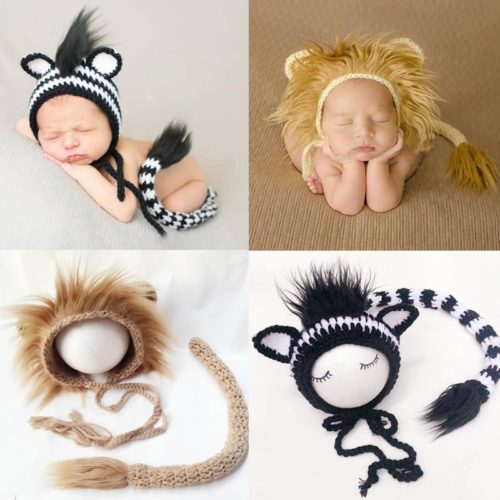 Infant Lion Costume Knitted Material with Fur