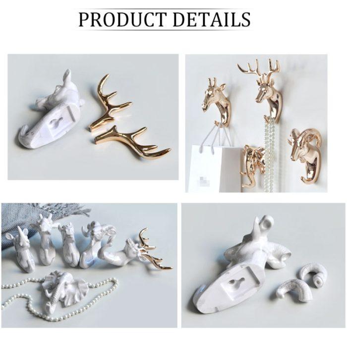 Animal Wall Hooks Metallic Color